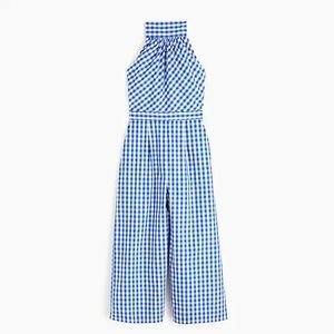 J Crew High Neck Jumpsuit in Gingham NWOT